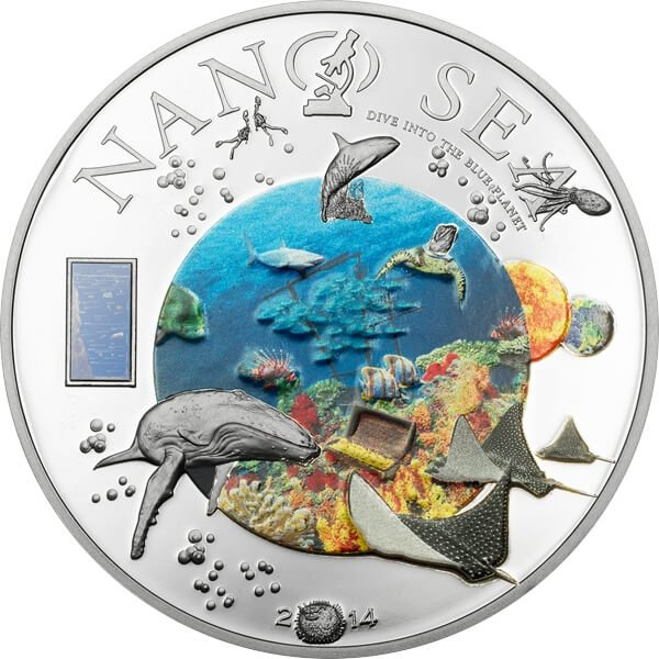 Cook Islands 2014 10$ Nano Sea - The World In Your Hand Proof Silver Coin