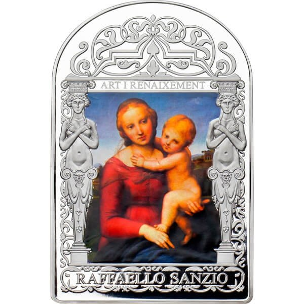 The Small Cowper Madonna by Raphael. The Renaissance Madonna Program (2nd issue) Proof Silver Coin 15 diners Andorra 2011