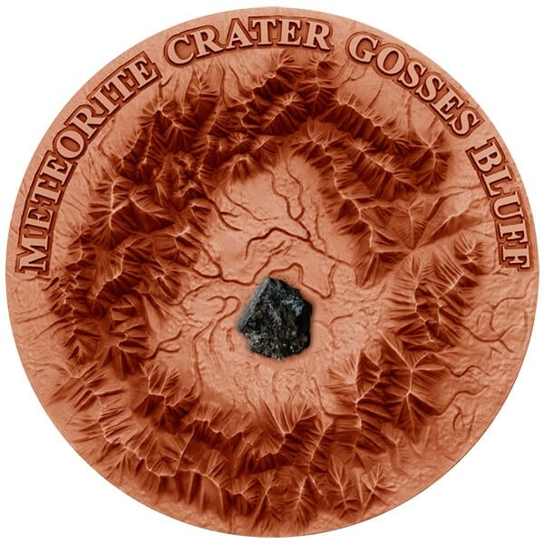 Niue 2017 1$ Meteorite Crater Gosses Bluff Crater with Henbury Meteorite 1 oz Copper plated/Antique finish Silver Coin