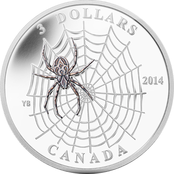 Canada 2013 3$ Animal Architects: Spider and Web Silver Proof Coin 1/4 oz