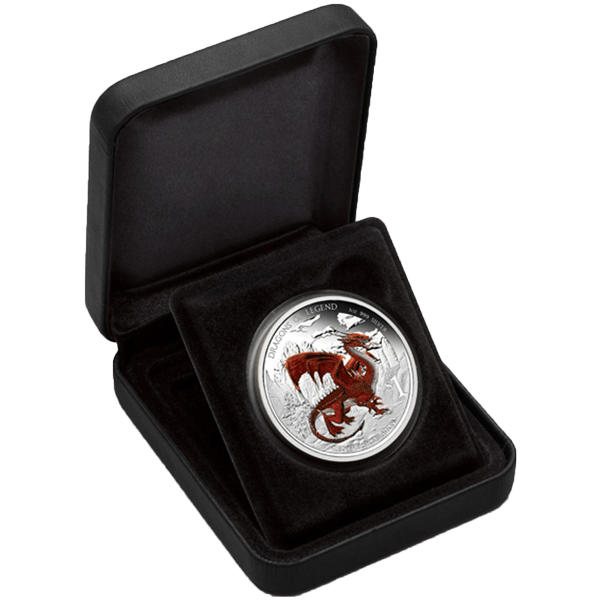 Red Welsh Dragon 2012 Dragons of Legend Proof Silver Coin 1$ Tuvalu 2012