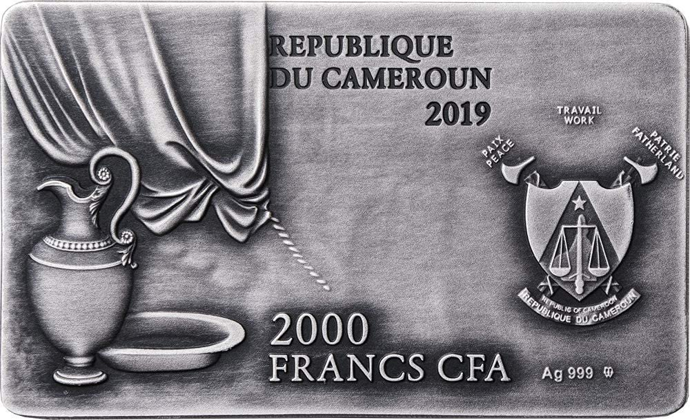 The Last Supper 2 oz Antique finish copper-plating Silver Coin 2000 Francs CFA Cameroon 2019