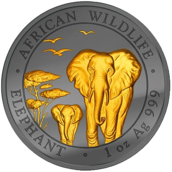 Somalia 2015 100 Shillings Elephant Golden Enigma Edition 2015  BU Silver Coin