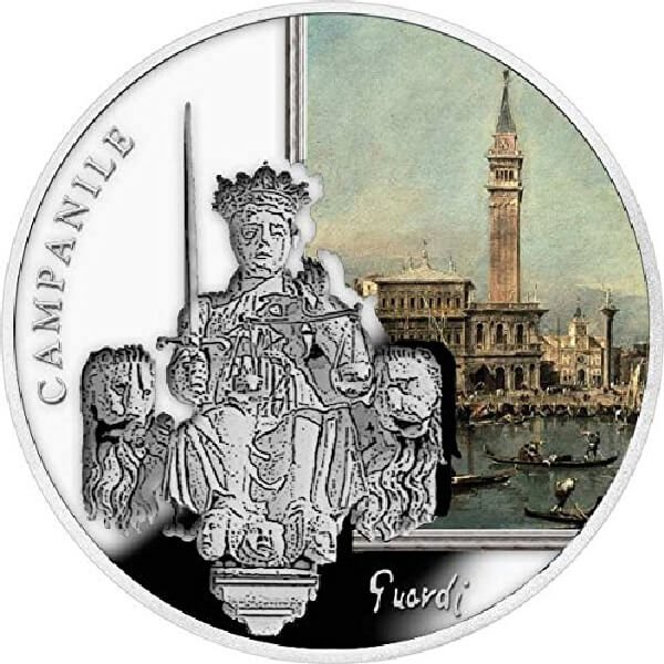 SOS. Venice – End or beginning ?  - St. Mark's Campanile  Proof Silver Coin 2$ Niue 2016
