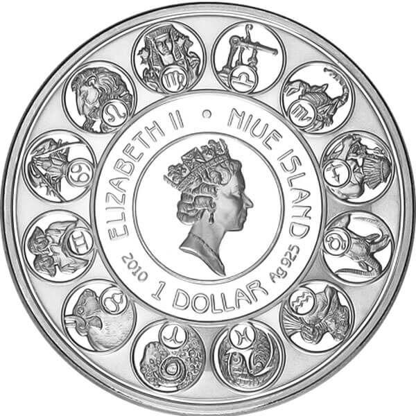 Niue 2010 1$ Aquarius A. Mucha Zodiac Proof Silver Coin