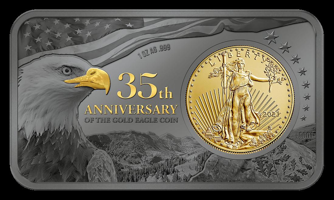 Gold Eagle 35th Anniversary 1 oz Silver & 1/10 oz Gold Proof & BU Silver Coin 5$ United States 2020