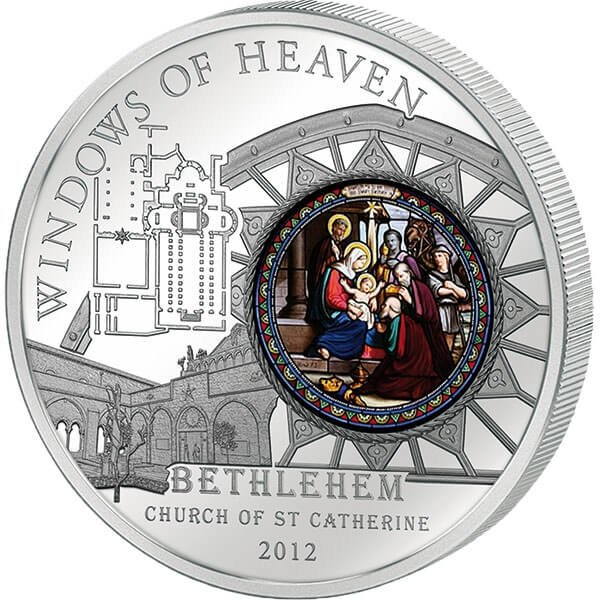 Cook Islands 2012 10$ Church of St. Catherine - BETHLEHEM Windows Of Heaven Proof Silver Coin