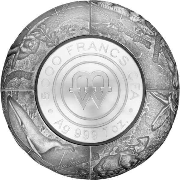 S.O.S. to the World - Endangered Animal Species 7 oz Antique Finish 3D Silver Coin 5000 Francs Cameroon 2017