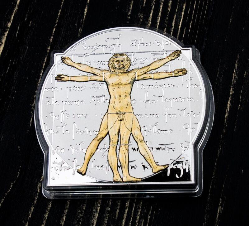 500 Years After Leonardo Da Vinci - The Vitruvian Man 5oz Reverse Proof Silver Coin 10$ Solomon Islands 2019