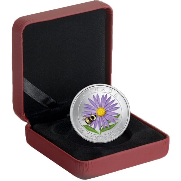 Canada 2012 25 cents Aster with Venetian Glass Bumble Bee (2012) Specimen CuNi Coin