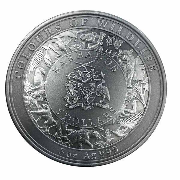 Tiger Colours of Wildlife 3 oz Antique finish Silver Coin 5$ Barbados 2021