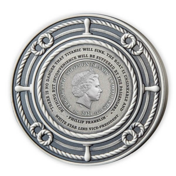 Remembering the RMS Titanic 3oz Antique Finish Silver Coin 10$ Solomon Islands 2021