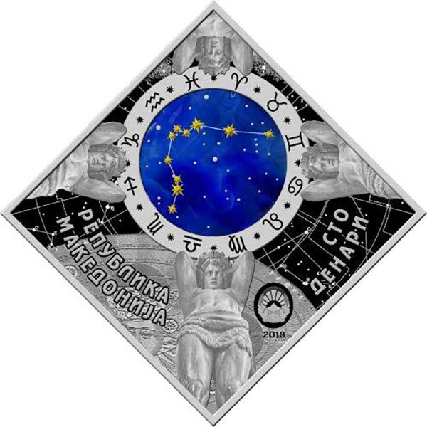 Pisces Zodiac signs 2018 Proof Silver Coin 100 Denars Macedonia 2018