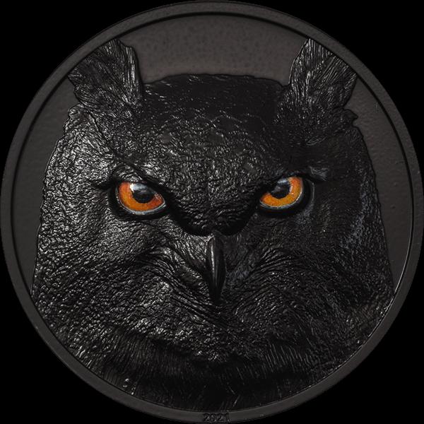 Eagle Owl Hunters by Night 2 oz Obsidian Black Silver Coin 10$ Palau 2021