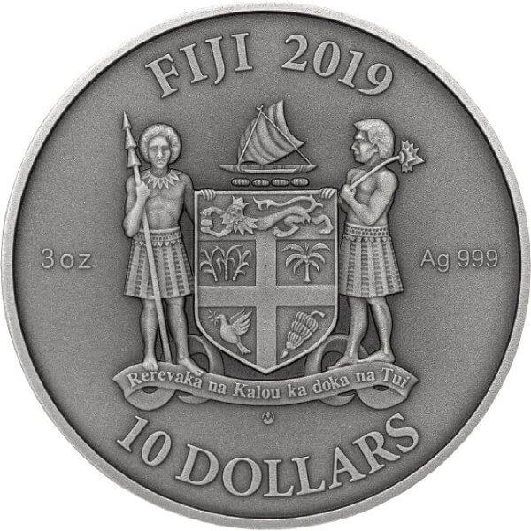 "MANDALA ART ""Notre Dame"" 3 oz Antique finish  Silver Coin 10$ Fiji 2019"
