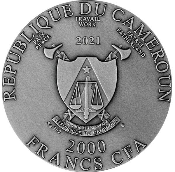 Cyclops 2 oz Antique finish Silver Coin 2000 Francs Cameroon 2021