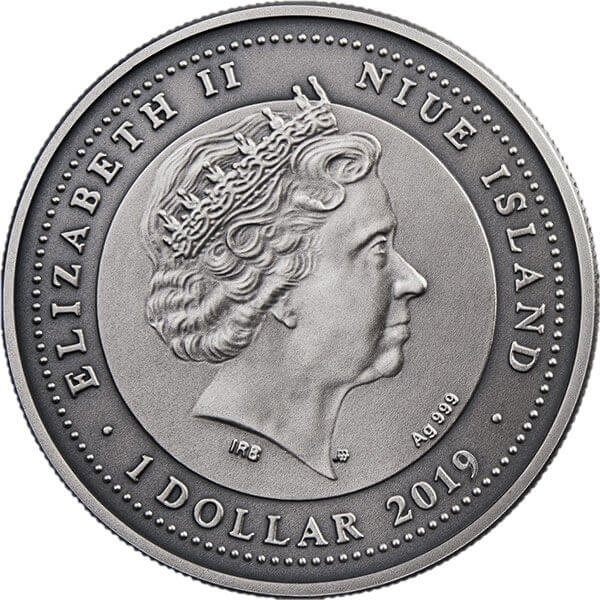 Attendant Angel II Antique finish Silver Coin 1$ Niue 2019