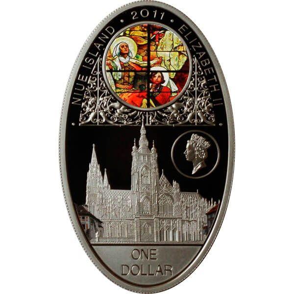 Katedrala Svateho Vita Prag  Gothic cathedrals Proof Silver Coin 1$ Niue 2011