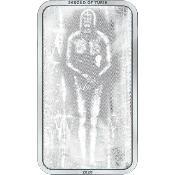 Shroud of Turin 1 oz Antique finish Silver Coin 5$ Cook Islands 2020