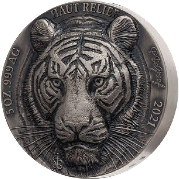 Tiger Haut-Relief 5 oz Antique finish Silver Coin 5000 francs Ivory Coast 2021