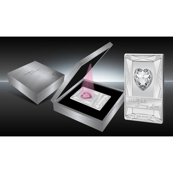 Cook Islands 2014 20$ Silver Luxury Line (Pink)  100 g Proof Silver Coin