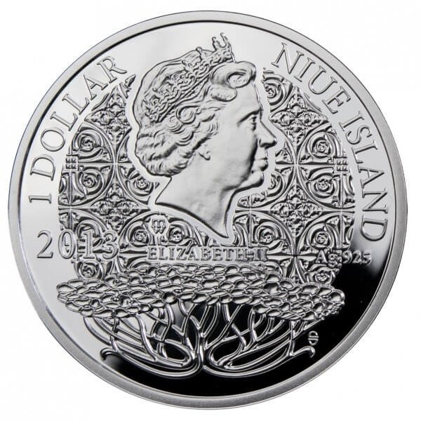OCTOBER  The Magic Stones of Happiness  Proof silver Coin 1$ Niue 2013