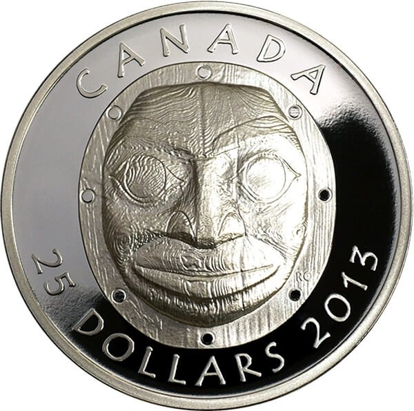 Canada 2013 25$ Grandmother Moon Mask Proof Silver Ultra High Relief  Coin
