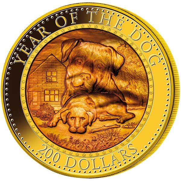 Year of the Dog Mother of Pearl 5 oz Proof Gold Coin 200$ Solomon Islands 2018