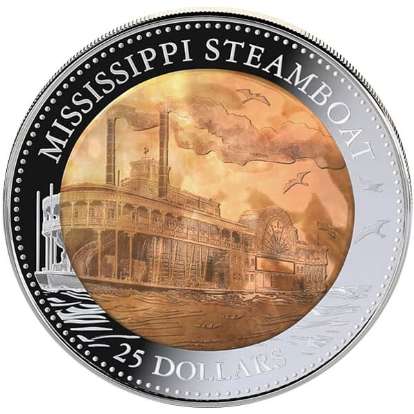 Cook Islands 2015 25$  Mississippi Steamboat 5 oz with Mother of Pearl Proof Silver Coin