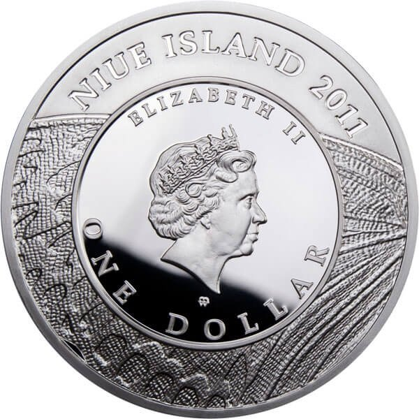 Niue 2011 1$ Large Blue Butterflies Proof Silver Coin