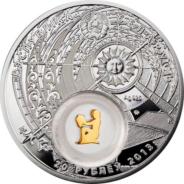 Belarus 2013 20 rubles  Belarus Zodiac 2013 Aquarius Proof Silver Coin