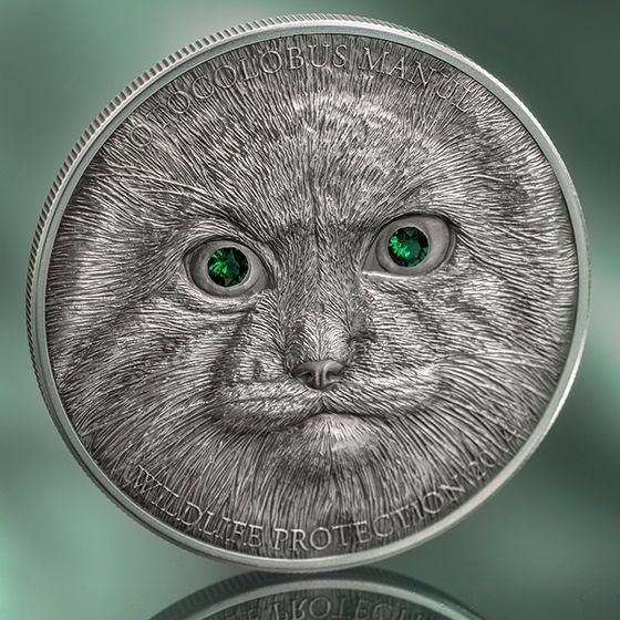 Mongolia 2014 500 togrog Manul Silver Antique finish Coin