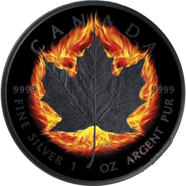 Maple Leaf Double Incuse Burning Maple Leaf 1oz Black Ruthenium BU Silver Coin 5$ Canada 2018