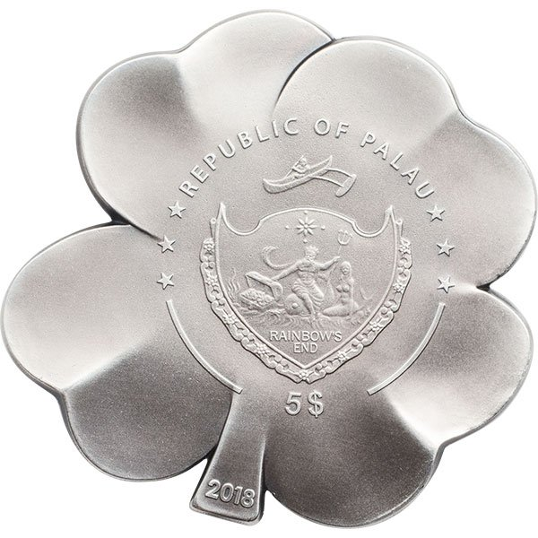 Silver Fortune Four-leaf Clovers 1oz Proof Silver Coin 5$ Palau 2018