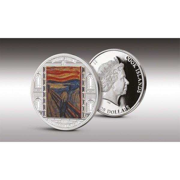 """Edvard Munch """"The Scream"""" Masterpieces of Art  93,3g Proof Silver Coin Cook Islands 2018 20$"""