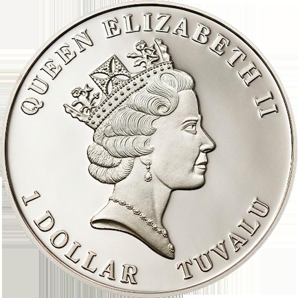 Tuvalu 2010 1$ Tuvalu Marine LifeTurtle Proof Silver coin