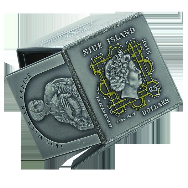 Niue 2015 25$ Leonardo da Vinci - Cube Shaped Coin  Antique finish Silver coin