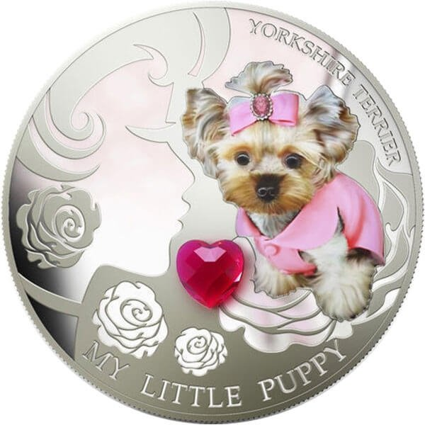Dogs & Cats - My Little Puppy Yorkshire Terrier 1 Oz Proof Silver Coin 2$ Fiji 2013