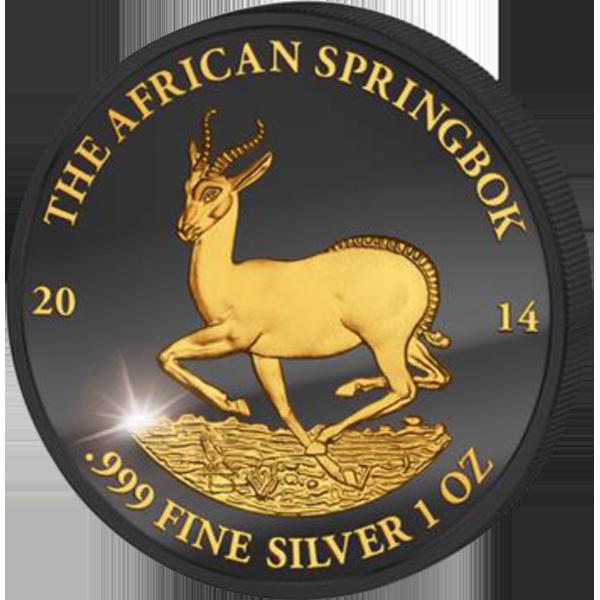 Gabon 2014 1000 Franks Golden Enigma Edition 2014 - Springbok BU Silver Coin