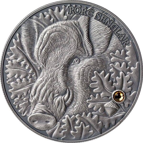 Wild Boar - Atlas of Wildlife Antique finish Silver Coin 10 diners Andorra 2014