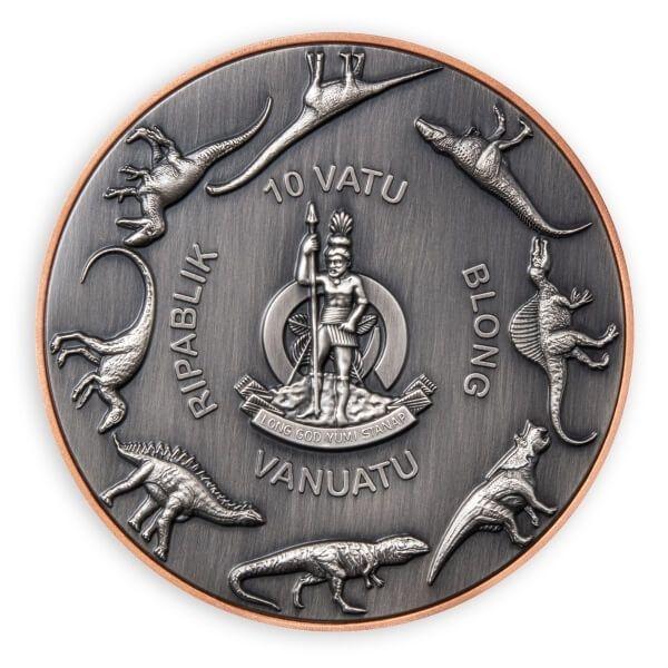 Tyrannosaurus Rex Double Silver Giant 145 g Cooper & 2 x 5 g Antique finish Silver Coin 10 Vatu Vanuatu 2021