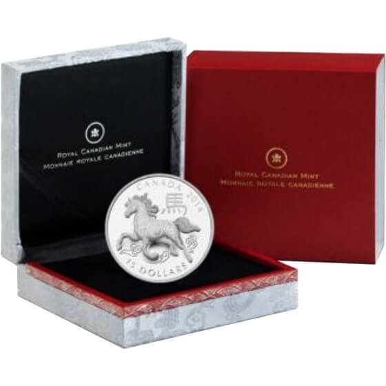 Canada 2014 15$ Year of the Horse Round Shaped  Proof Silver Coin