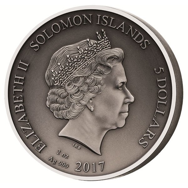 Thraex The Gladiators 2 oz Antigue finish Silver Coin 5$ Solomon Islands 2017