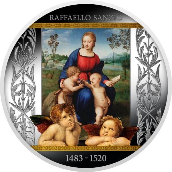 Madonna of the Goldfinch Raffaello Sanzio Proof Silver Coin 500 Francs Cameroon 2020