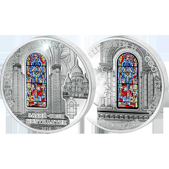 Cook Islands 2014 10$ Sacre Coeur Basilica (France) Windows Of Heaven Proof-like Silver Coin