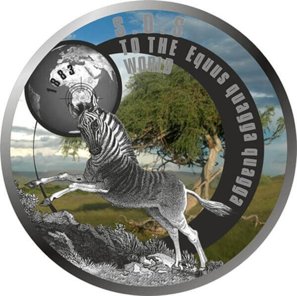 Niue 2017 1$ SOS To The World – They Are Gone! Quagga 17.5 g Proof Silver Coin