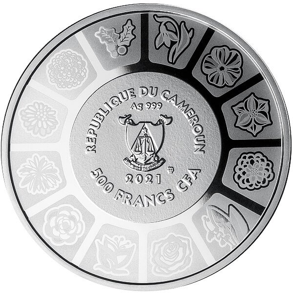 Lily Language of Flowers Proof Silver Coin 500 Francs Cameroon 2020