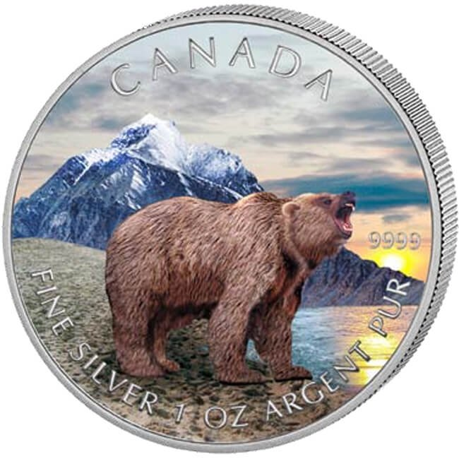 Canada 2011 5$ Grizzly Wildlife Series UNC Silver Coin