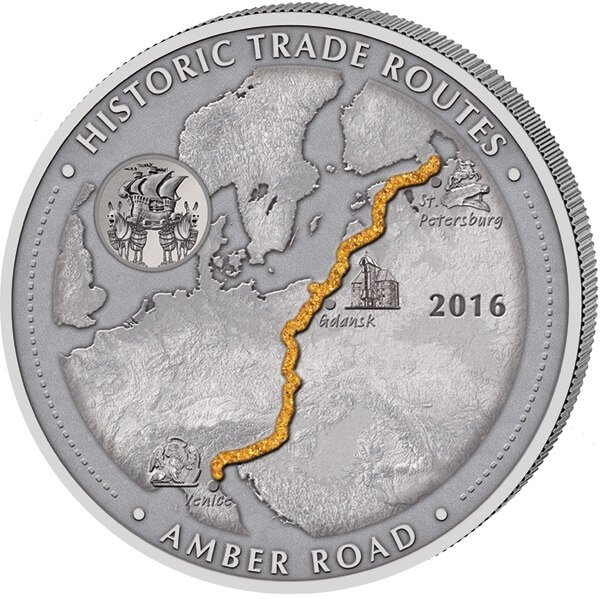 Cameroon 2016 5000 Francs Amber Road Historic Trade Routes 5 oz Antique Finish Silver Coin
