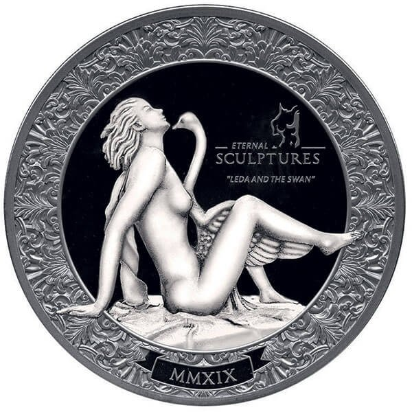 Leda and The Swan Eternal Sculptures 2 oz Black Proof Silver Coin 10$ Palau 2019